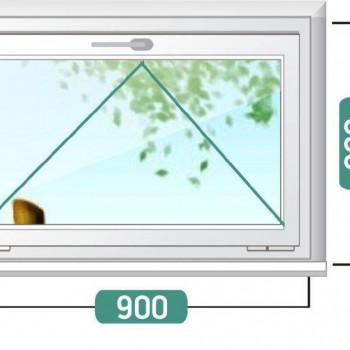 Пластиковое окно эконом 900х600мм, фрамуга