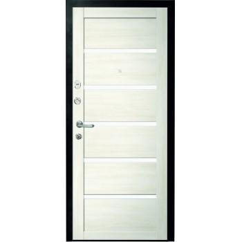 Металлическая дверь Люкс Вена Белый Кипарис стекло белое