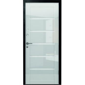 Металлическая дверь Люкс Вена Глянец Белый стекло белое
