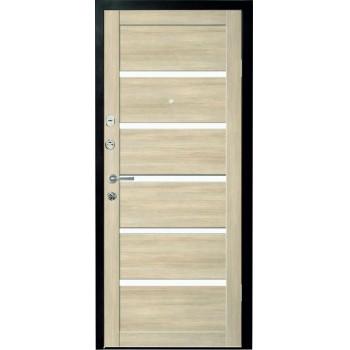 Металлическая дверь Люкс Вена Лиственница Мокко стекло белое