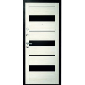 Металлическая дверь Люкс Прага Белый Кипарис стекло черное