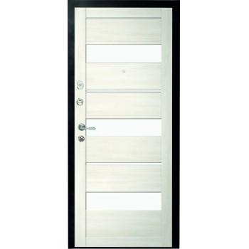 Металлическая дверь Люкс Прага Белый Кипарис стекло белое